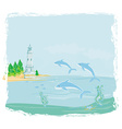 lighthouse seen from a tiny beach and dolphins vector image vector image