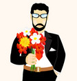man with bouquet flower vector image vector image