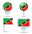 Map pins with flag of Saint Kitts and Nevis vector image