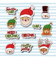 merry christmas with stickers faces of gnomes and vector image vector image
