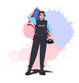 policewoman in uniform holding usa flag happy vector image vector image