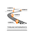 road way design infographics tire tracks timeline vector image vector image