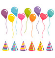 set of colorful balloons and party hats vector image vector image