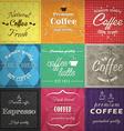 set retro coffee label cards vector image vector image