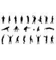 set silhouettes people involved in sports vector image vector image