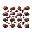 set sweet dark chocolate bar crumb pieces vector image vector image
