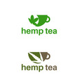 set template logo design with hemp tea cup vector image