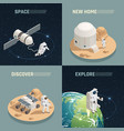 space exploration 4 isometric icons vector image vector image