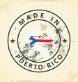 Stamp with map flag of Puerto Rico vector image vector image
