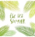 Summer day lettering poster with palm vector image vector image