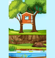 tree house in nature vector image vector image