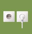 wall socket and electric plug vector image vector image