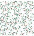 watercolor christmas berry branch seamless vector image vector image