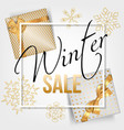 winter sale typographic with golden snowflakes vector image vector image