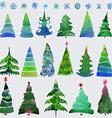 Christmas trees and snowflake set of holidays hand vector image