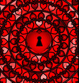 abstract ornament red color heart with hole vector image
