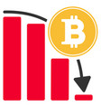 bitcoin falling chart flat icon vector image vector image