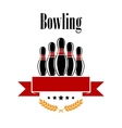 Bowling heraldic banner with ninepins vector image