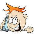 boy calling with mobil phone peeking out - vector image vector image