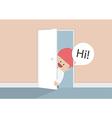 businessman open door and say hi vector image vector image
