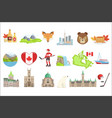 canadian national symbols set of items isolated vector image