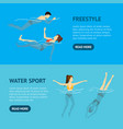 cartoon characters swimming and diving people vector image vector image