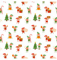 Cute childish christmas tiny elves seamless
