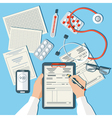 Doctors Workplace Medical Doctor Working in Clinic vector image vector image