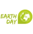 Earth day icon with green planet isolated on white vector image