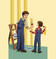father son painting vector image vector image