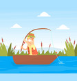 fisherman character catching fish with rod on lake vector image
