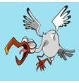 funny cartoon stork flying bird with open beak vector image vector image