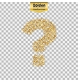 Gold glitter icon of question mark isolated vector image