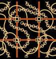 golden chains and belts seamless pattern baroque vector image vector image