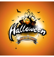 Halloween with pumpkin on orange background vector image