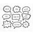 hand-drawn speech and thought bubbles on rice vector image vector image