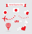 japan flag and map icons set vector image vector image