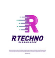 letter r digital logo design concept initial r vector image vector image