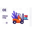 man collector cleaning trash to rubbish car vector image vector image