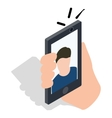 Man taking selfie photo on smartphone icon vector image vector image