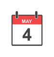 may 4 calendar icon in flat style vector image