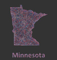 Minnesota line art map vector image vector image