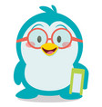 penguin with book character vector image vector image