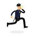 police officer character in a blue uniform running vector image vector image
