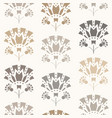 seamless pattern of art deco lilies in beige vector image