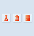 set clipboard with checklist money bag and file vector image vector image