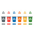set colorful garbage containers icons recycling vector image