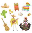Set of cultural symbols mexico sombrero cactus