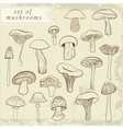 Set of different hand drawn mushrooms in pastel vector image vector image