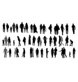 Set of Silhouette Walking People and Children vector image vector image
